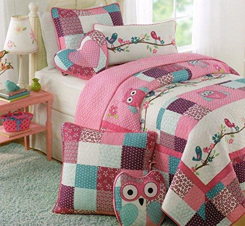 Girls Twin Bedroom With Bird Wallpaper: $(niiloip)!# Toddler Bedding Set Owl Birds 2pc Quilt Set