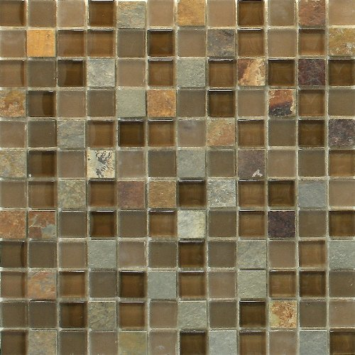 "Glass Tile and Stone Slate Mosaic Backsplash 12""x12"" Sheet"