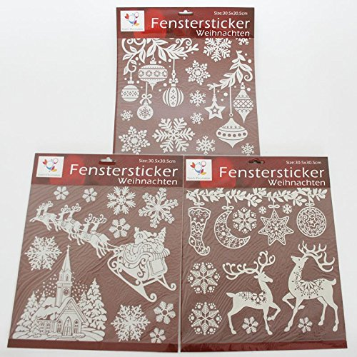 3 b gen fenstersticker weihnachten 30 5 x 30 5 cm wei mit glitter selbstklebend. Black Bedroom Furniture Sets. Home Design Ideas