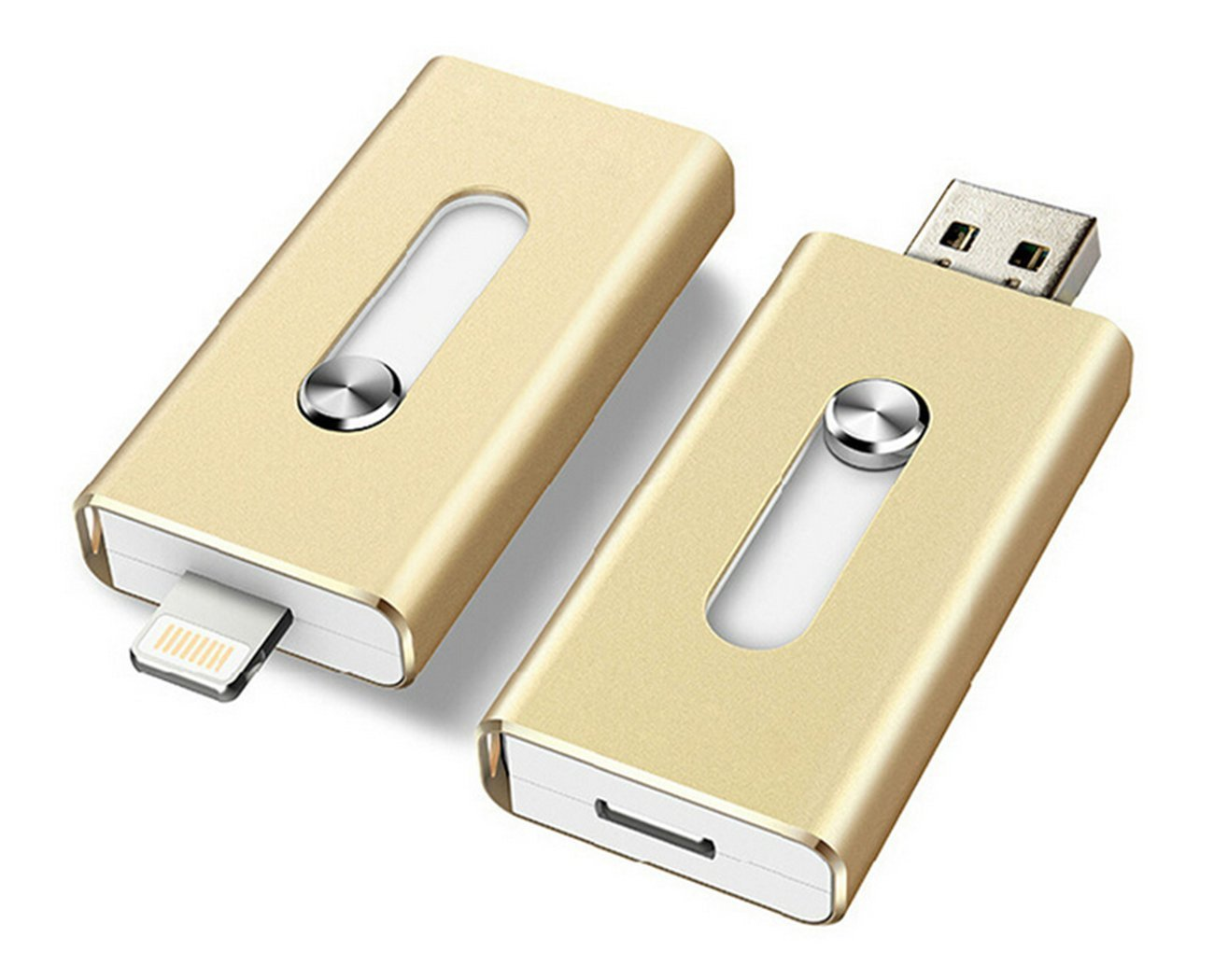 Apple Phone U Disk, Altavors 8g 16g 32g Otg USB Dual Disc Push-pull Computer Phone External Hard Drive Double Plug Apple Disk Iphone6/5 (16g Gold)
