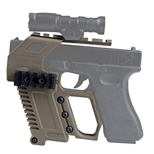 LEJUNJIE Tactical Area Pistol Toy Carbines Kit Installation W/Rail Panel ABS for Glock G17 G18 G19 GBB Series Loading Accessories (Color: Tan)
