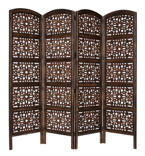 New Rajasthan - Antique Brown - 4-Panel Handcrafted Wooden Room Divider Screen by Cotton Craft - Siz...