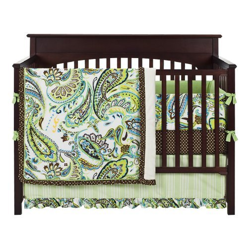 Paisley Splash in Lime 4pc Crib Bedding Set by My Baby Sam