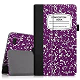 """Fintie Folio Case for Fire 7 2015 - Slim Fit Premium Vegan Leather Standing Protective Cover Case for Amazon Fire 7 Tablet (will only fit Fire 7"""" Display 5th Generation), Composition Book Purple"""