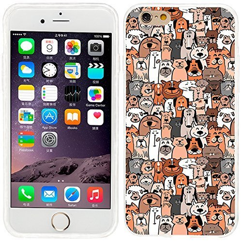 iPhone 6 Case, iphone 6 4.7 case,iphone6 case ,ChiChiC full Protective unique Stylish Case slim durable Soft TPU Cases Cover for iPhone 6 4.7 inch,cute doodle brown dogs and cats smile pet