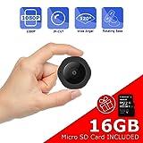 Mini Spy Hidden Camera, Vaculim 1080P Portable Small HD Nanny Cam 16GB SD Card (Color: Black)