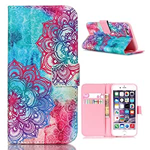 iPhone 6s Case, Wallet Case, MaxMall Flower Pattern Premium PU Leather Wallet Flip Protective Skin Case with Magnetic Closure for Apple iPhone 6 (2014), 6s (2015)