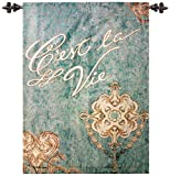 French Notes C'est La View Fine Art Tapestry Wall Hanging Rod and Finials 26x36