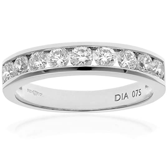 Naava Platinum Channel Set Half Eternity Ring, IJ/I Certified Diamonds, Round Brilliant