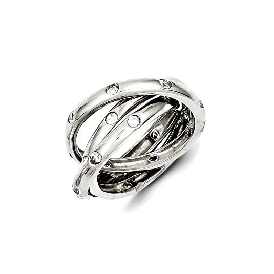 Sterling Silver CZ Rolling Ring