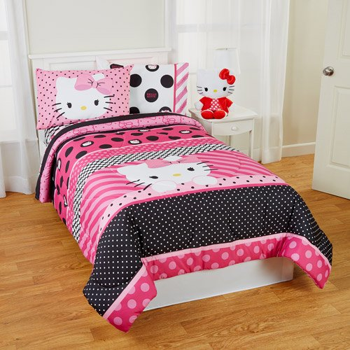 hello kitty twin sheets comforter sets pink bedroom decor. Black Bedroom Furniture Sets. Home Design Ideas