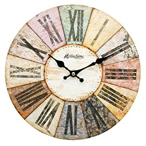 hometime mdf round wall clock roman dial multi coloured w6803bn kitchen home. Black Bedroom Furniture Sets. Home Design Ideas