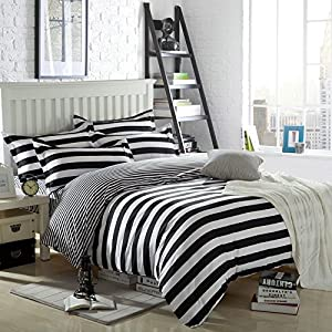 Lt Twin Full Queen Size 4 Pieces White And Black Striped