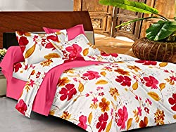 Casa Basics- Ezy Collection,144 Thread Count Standard 100% Cotton Solid,Floral,Geometric, Double Bedsheet With 2 Pillow Cover- Red,Pink,White & Yellow