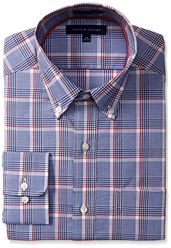 tommy-hilfiger-mens-regular-fit-non-iron-exploded-plaid-shirt-blue-multi-15-neck-32-33-sleeve