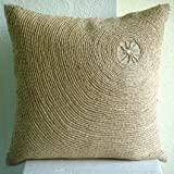 Back To Earth - Throw Pillow Covers - Linen Pilllow Cover with Jute Embroidery