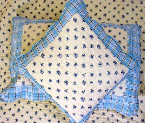 Lt Blue Denim with Flower Handmade Quilt Twin Set of Three