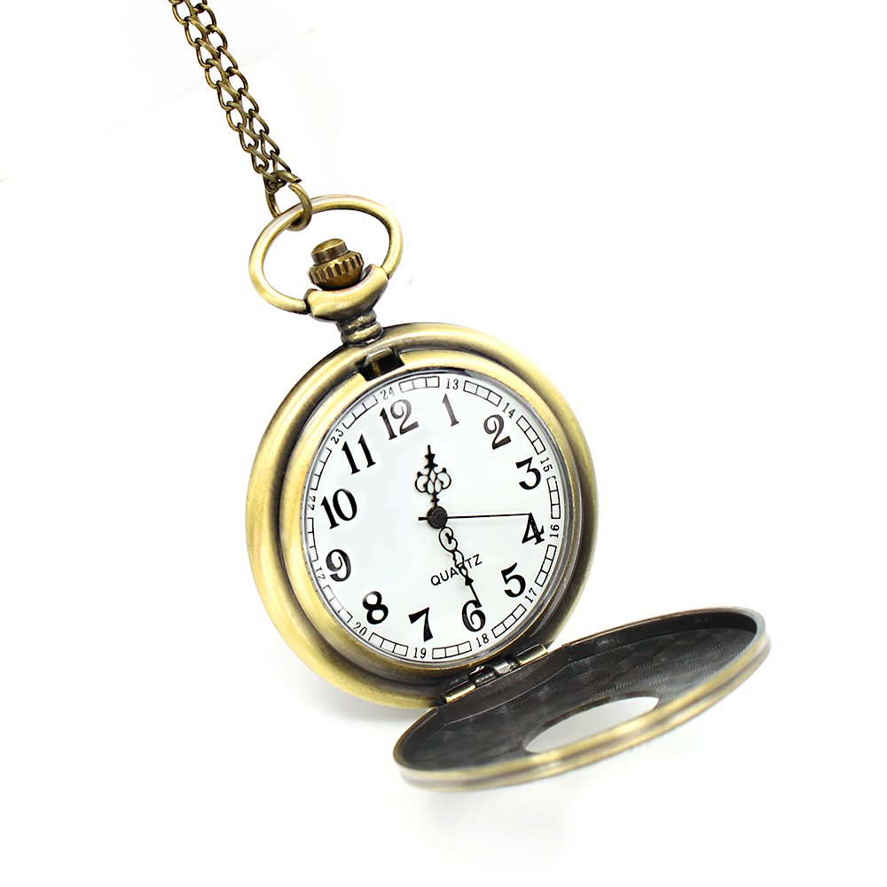 Mifine Antique Roman Pocket Watch Bronze Dial Open Faced Roman Numerals with Vintage Metal Rope 1