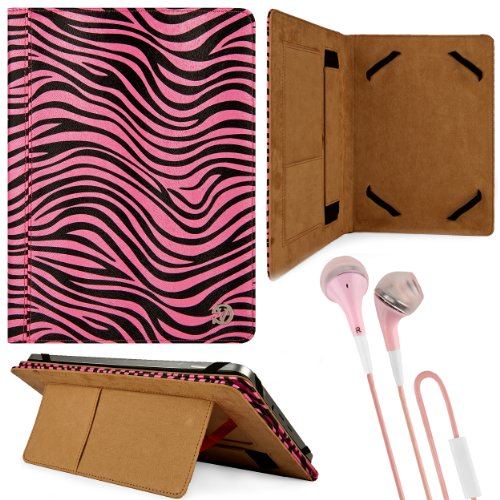 Black & Pink Zebra Design Vg Faux Leather Standing Portfolio Case Cover For Kocaso M1070 / M1062 / Nb1016 / M1052S / M1061 / M1050 / M1050S 10.1 Inch Androi Tablets + Pink Handsfree Hifi Noise Isolating Stereo Headphones With Windscreen Microphone And Sof front-1068520