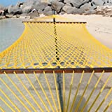 Caribbean Rope Hammock - 55 Inch - Soft-Spun Polyester (yellow)