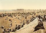 13cm x 18cm (1890 - 1900) Vintage Photochrom Postcard Reprint of Blackpool Beach With North Pier, Blackpool, Lancashire, England