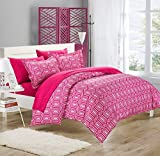 Chic Home Tina Printed Contemporary 3-Piece Duvet Cover Set, Queen, Fuchsia