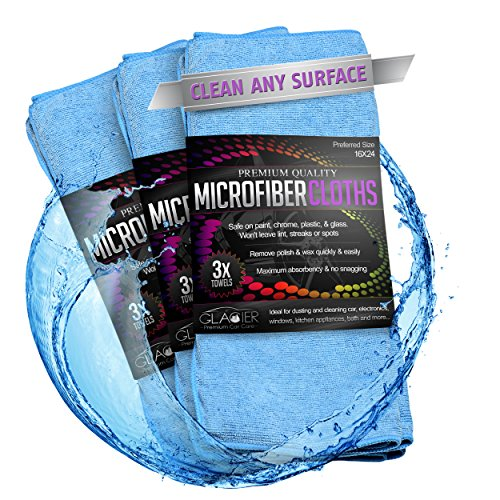 Glacier Microfiber Cleaning Cloth Safely and Easily Cleans Any Surface 3 Large 24X16