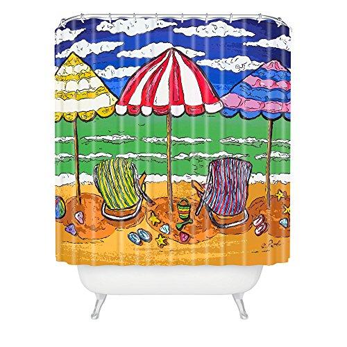 Deny Designs Renie Britenbucher 3 Beach Umbrellas Shower Curtain front-397829