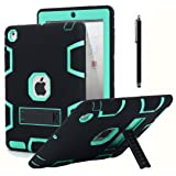 iPad 2 Case,iPad 3 Case,iPad 4 Case, AICase Kickstand Shockproof Heavy Duty Rubber High Impact Resistant Rugged Hybrid Three Layer Armor Protective Case with Stylus for iPad 2/3/4 (Black+Mint Blue) (Color: Black+Mint Blue)