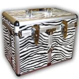 ZEBRA PRINT COSMETIC/JEWELRY TRAIN CASE
