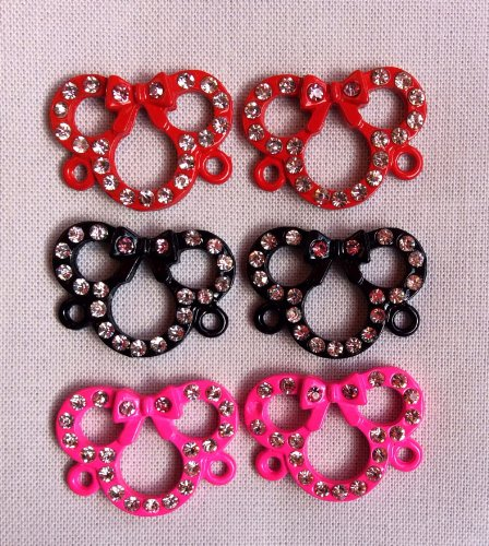 Minnie Mouse Rhinestone Connector Charms Set of 6, Great for Loom Band Creations