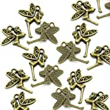 Charm Buddy Pack of 10 x Antique Bronze Style Tinkerbell Fairy Charm Pendants 22mm x 17mm for Jewellery Making Findings Craft