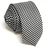 "Shlax&Wing Black White Houndstooth Skinny Ties 2.36"" Mens Necktie Slim"
