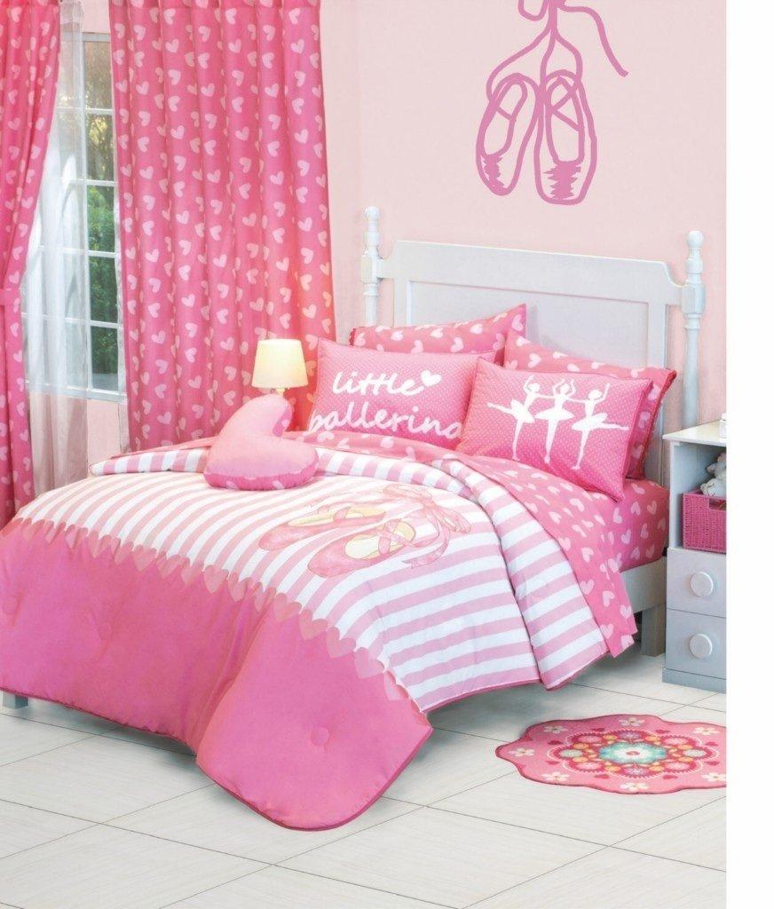 Girls Pink Little Ballerina Comforter Sheet Bedding Set Full Queen 8 Pcs
