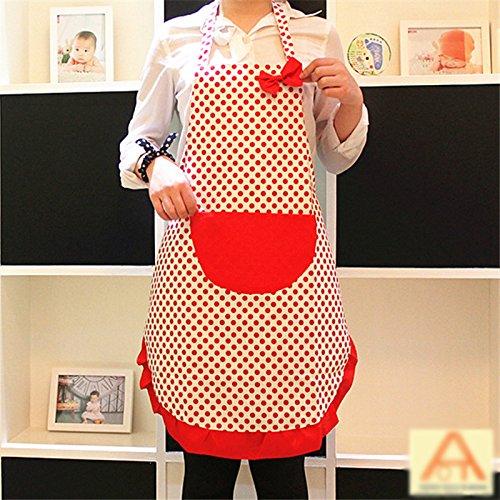 Red Dot Lady Princess Polka Dot Cotton Apron Adult Cooking Kitchen Bib Bow Pocket Dress