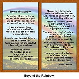 "Pet Lover Remembrance Gift, ""Beyond the Rainbow"" , Memorial Pet Loss Picture Frame and Sympathy Gift Package, with optional custom photo editing"
