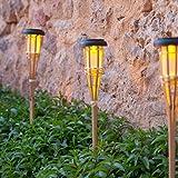 10er Set LED Solar Bambus Gartenfackeln 58cm Lights4fun