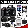 Nikon D3200 Digital SLR Camera & 18-55mm & 55-200mm DX AF-S Zoom Lens and Case with 16GB Card + Filters + Tripod + Tele/Wide Lens Kit