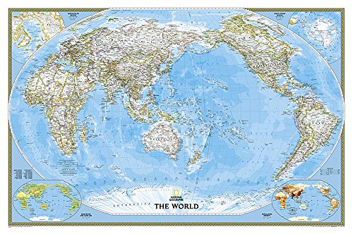 **Pacific Centered Politique Classic Plastifie112 Cm X 76 Cm: PP.NGW1020324 (National Geographic Reference Map)