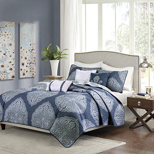 Madison Park Rachel 6 Piece Reversible Quilted Coverlet Set Navy KingCal King (Rachel Quilted Bedding compare prices)