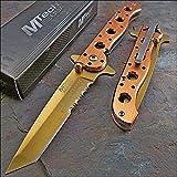 Mtech Ballistic Assisted Open Gold Law Enforcement Folding Pocket Knife