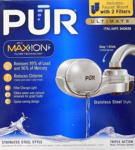 PUR FM-9000B NEW AdvancedPlus Faucet Water Filter - Stainless Steel Style, with 2 filters (Pur Water Sink Filter compare prices)