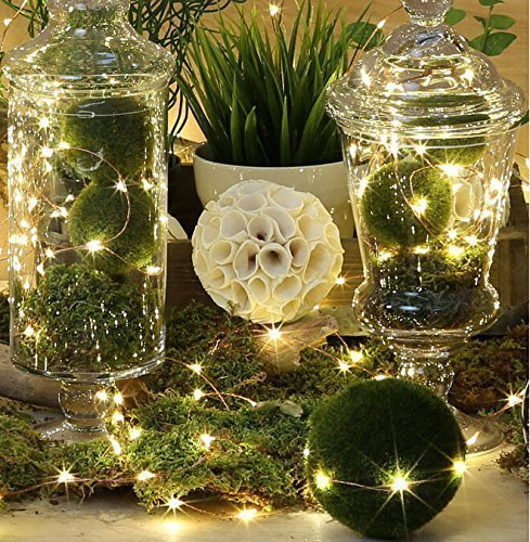 BMOUO LED Rope String Lights, 19.7Ft 6-Meter 60leds Mini Decorative Indoor Christmas Party Battery Operated Copper Wire Starry LED String Lights for Wedding Bedroom Holiday Pub Club (Warm White)