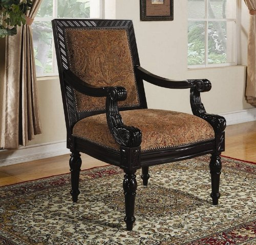 accent chair with traditional carvings in black finish # 900414