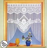 Gardinen, Vorhang, Fadenstore-Fensterbild in M-Bogenform mit Stangendurchzug, Farbe Weiß, Höhe 110cm x Breite 100cm für Fensterbreite 85 - 100cm