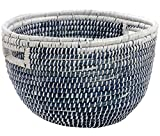Blue/White Hand-Woven Tall Decorative Basket