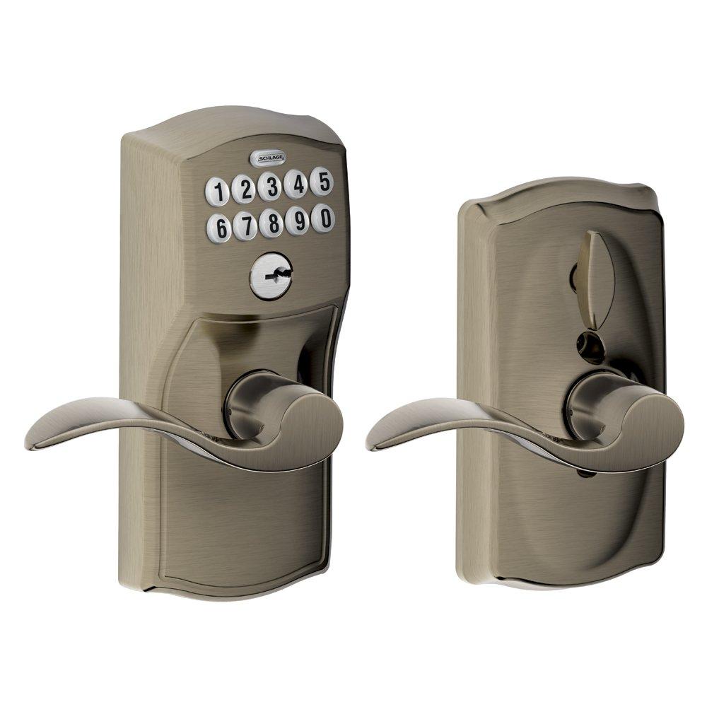 Keyless front door lock pewter lever home security for Front door lock with code