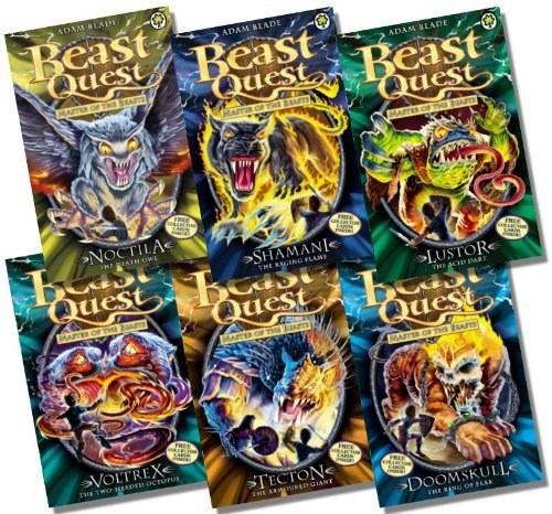 Beast Quest Series 10 Collection - 6 Books RRP £29.94 (55. Noctila the Death Owl; 56. Shamani the Raging Flame; 57. Lustor the Acid Dart; 58. Voltrex the Two-headed Octopus; 59. Tecton the Armoured Giant; 60. Doomskull the King of Fear) (Beast Quest Voltrex compare prices)