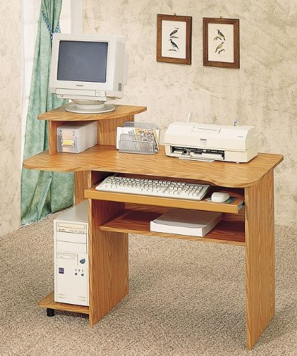 Buy Low Price Comfortable Oak Finish Computer Desk W Sliding Keyboard Tray (B0001JTGXC)