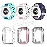 UMTELE Soft Silicone Replacement Band Sport Strap with Ventilation Holes for Apple Watch Nike+, Series 3, Series 2, Series 1, Sport, Edition, 3 Pack